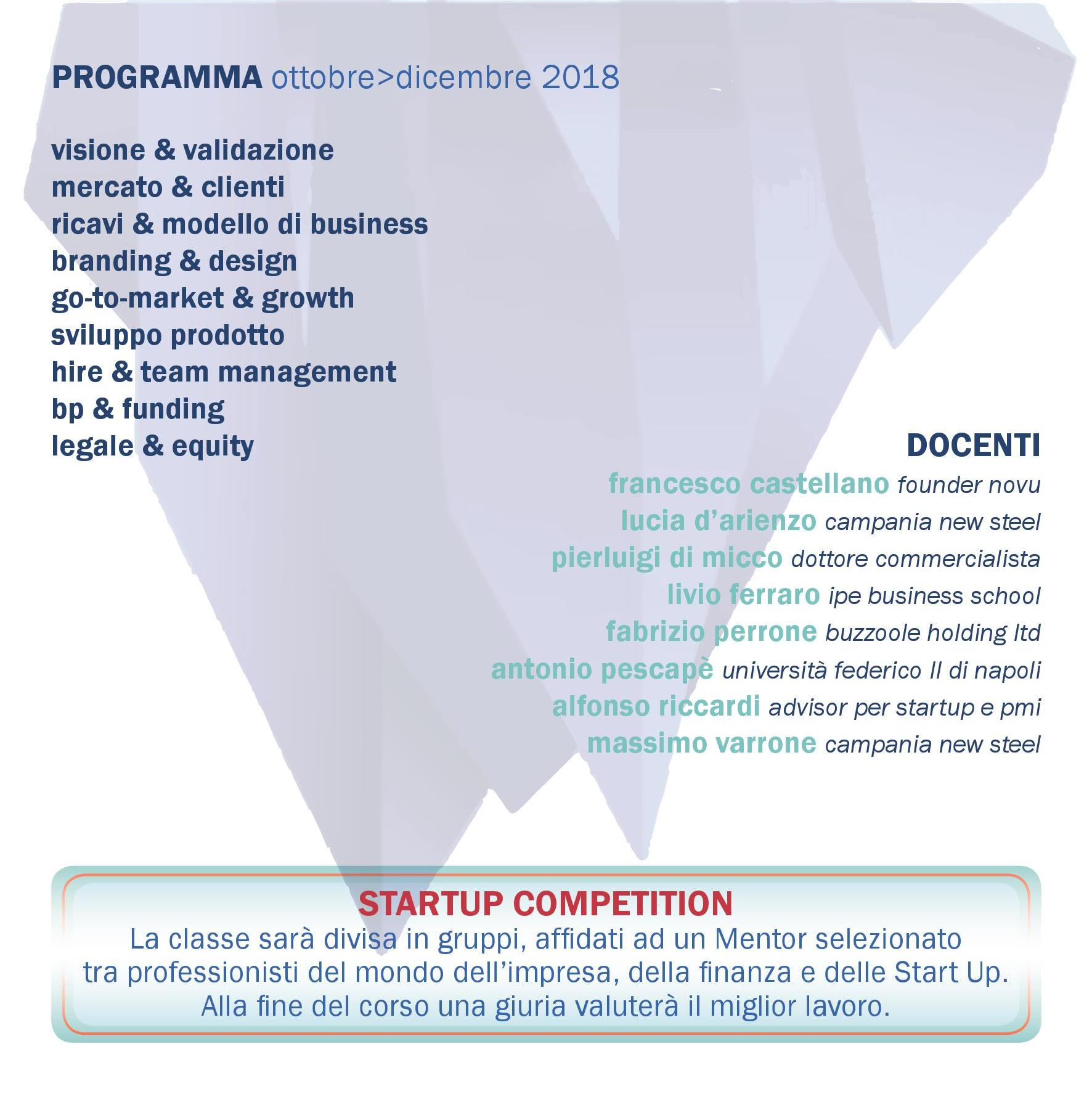 Programma e docenti FAI TU: corso per startup d'impresa