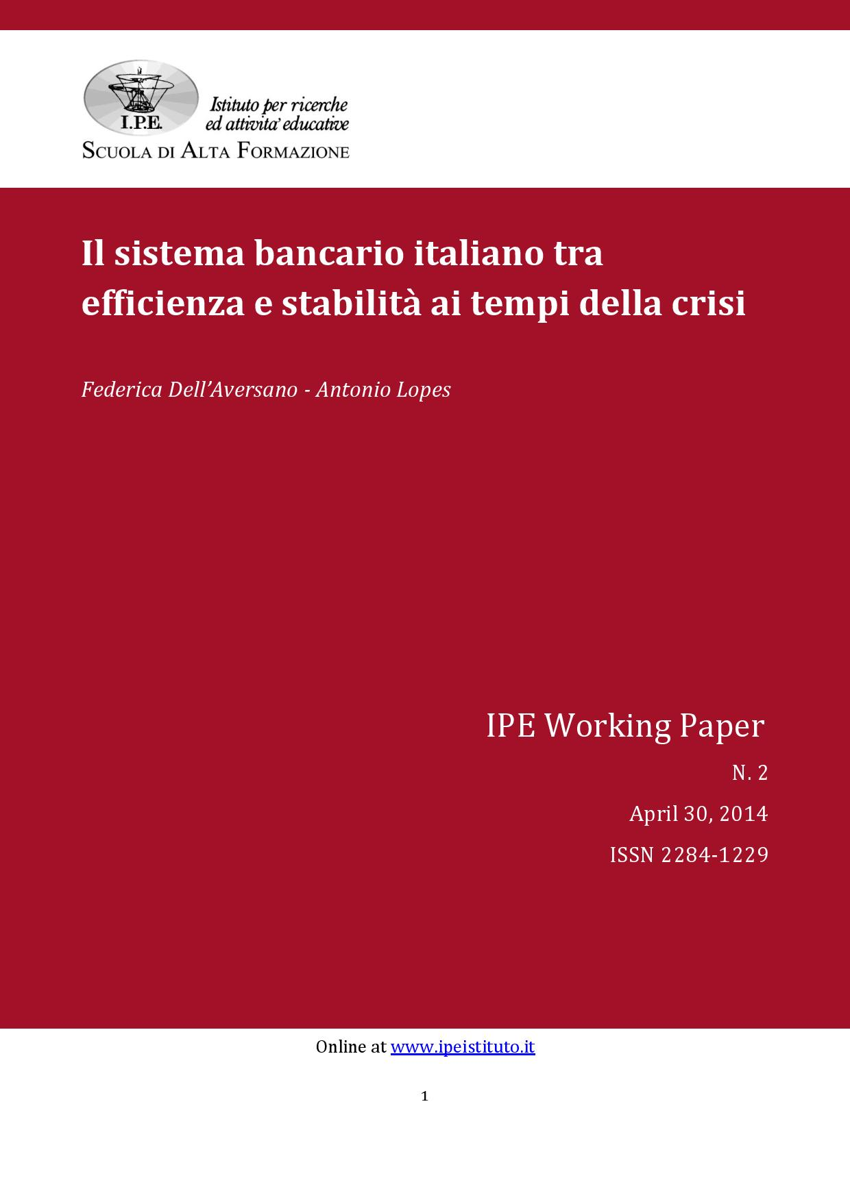IPE Working Paper N.2/2014